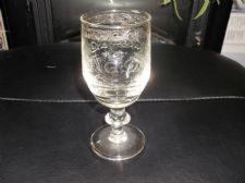 ELEGANT QUALITY CORDIAL GLASS HEAVILY ETCHED ORNATE DESIGN BODY WITH SILVER LINE